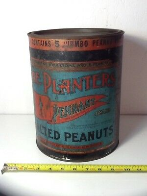 Vintage Planters Pennant Brand Salted Peanuts 10 Pound Tin Wilkes-Barre, PA.