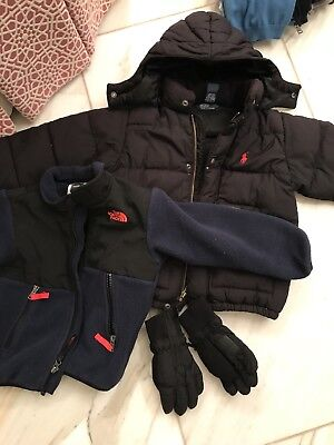 Lot 2 Jackets Northface And Polo And Obermeyer Gloves Size 2-3