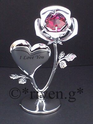 I Love You Single Red Rose Crystal Gift@strass Swarovski Elements@silver Hearts
