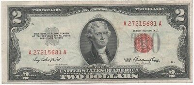 ✯ 1953 Two Dollar Note Red Seal ✯$2 Bill G-VG✯Old Paper OLD Currency✯