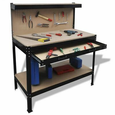 vidaXL Workbench with Pegboard and Drawer Station Garage Tool Storage Shelf