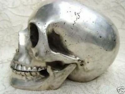 collectables! Archaic Chinese Tibet silver In-D Copper skull framework statue: