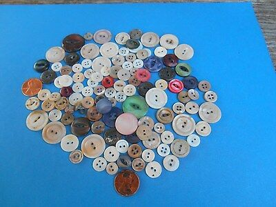 Large Group 100  Mother Of Pearl Antique Buttons Various Sizes Designs