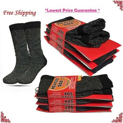 Lot 3 Pairs Mens Winter Heated Warm Boot Heavy Duty Thermal Socks Size 10-13 New
