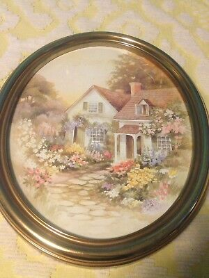 Vtg large Antique oval gold frame and picture