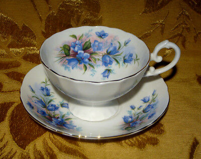 Crown Staffordshire Bluebell Flowers Cup & Saucer Oversize Gold Trim
