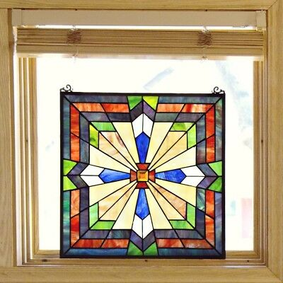 River Of Goods Southwest Sunburst Multicolor Stained Glass 18-inch Window Panel
