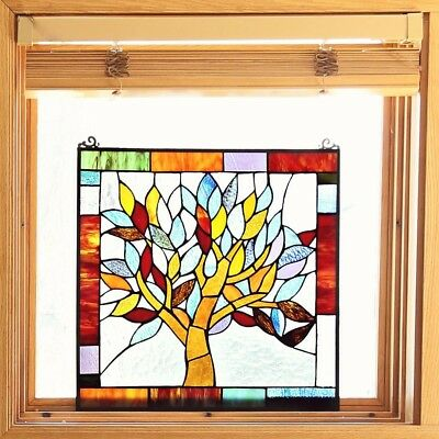 Tiffany Style Mystical World Tree Stained Glass 18-inch Window Panel - M