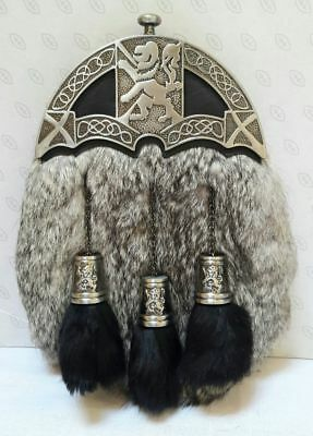 Brand New Sporran With Grey Rabbit Fur Lion Celtic Design (Free Belt Included)