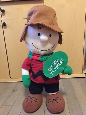 """Charlie Brown 24"""" Plush Standing Display Doll Good Grief It's Freezing Christmas"""