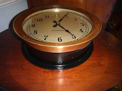 "12"" International Time Recording Co Ship's Secondary Slave Clock w Master Driver"