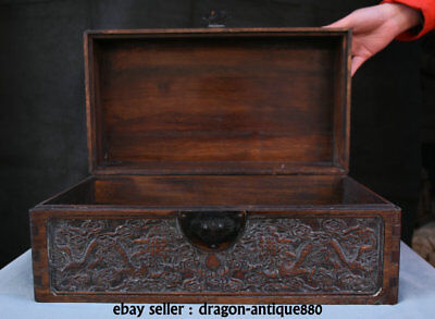 """16"""" Chinese Palace Huanghuali Wood Carved 2 Dragon Play Ball Storage Jewelry box"""