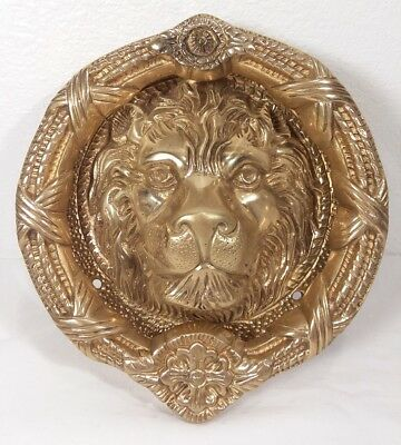 Antique Solid Brass Ornate Lion Head Heavy Door Knocker 8""
