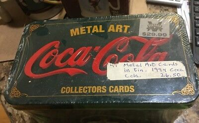 Old-Fashioned 1994 Coca Cola Factory Sealed METAL ART- 20 Collector Cards in Tin
