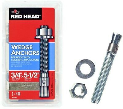 Red Head Zinc-Plated Steel Hex-Nut-Head Solid Concrete Wedge Anchors (10-Pack)