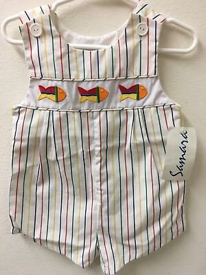 Vintage Toddler Boy's Samara Brand Sun Romper Outfit With Fish NWT 24 Months