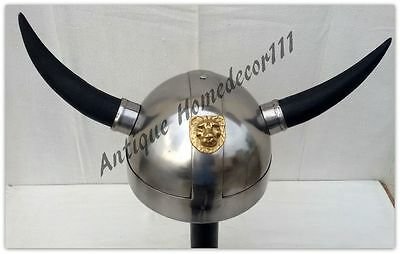 Medieval Knight Ancient Armour Collectible Viking Helmet With Horn Lot Of 10 Pcs