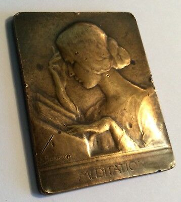 "Antique French Art Nouveau bronze paperweight, ""Meditation"" signed J Borgeaud"