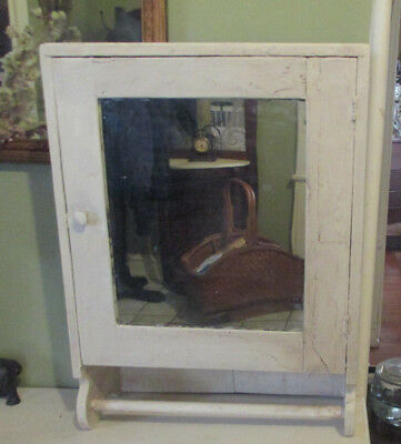 Antique 1800's Wood Mirrored Wall Medicine Cabinet Cupboard shabby towel bar