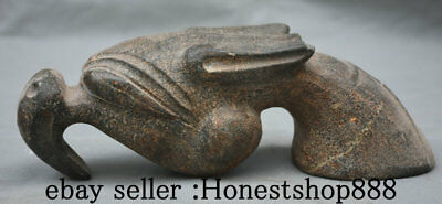 """8"""" Old China Hongshan culture Old Jade Carving Dynasty Dragon Beast Head Statue"""