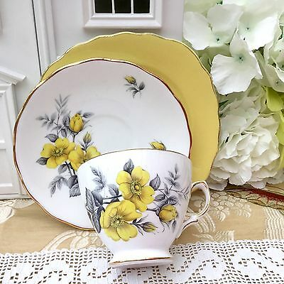 ROYAL VALE BONE CHINA 1960s TRIO CUP & SAUCER PLATE SET YELLOW ROSE & HARLEQUIN