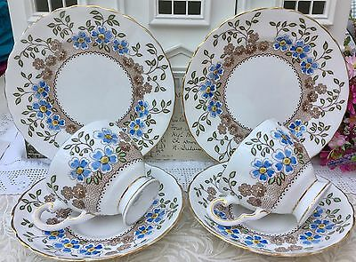 TUSCAN CHINA 1930s TRIO CUP SAUCER PLATE SET X 2 - BLUE FLORAL GARDEN C6282