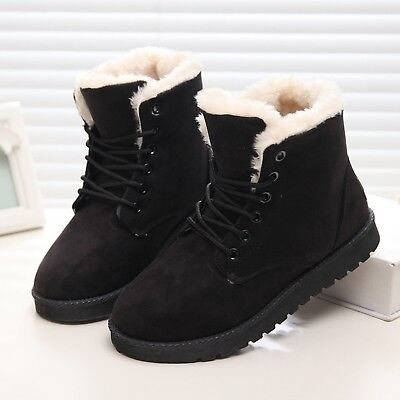 Women Ankle Boots Fashion Winter Flat Solid Snow Shoes Ladies Round Toe Design