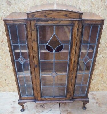 Solid Wood Dark Oak Art Deco / Edwardian Bookcase Cabinet Leaded Glass Front