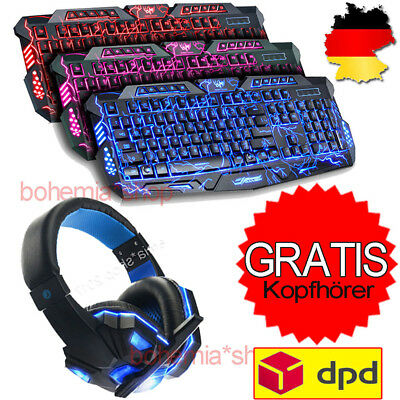 Gaming Tastatur Keyboard Gamer Keyboard+ Kopfhörer Headset mit Mikrofon Stereo