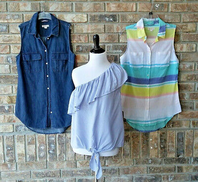 9a09db7abd Lot of 3 MERONA Women s Small Sleeveless Top Shirt One Shoulder Blue Floral  NEW
