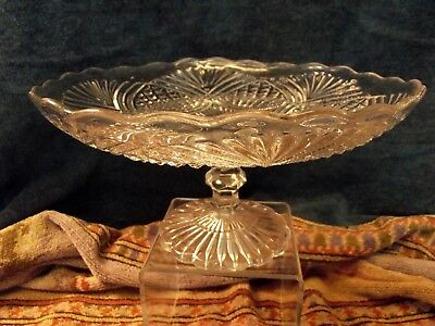 Vintage Pressed Glass Footed Cake Stand Tazza Comport