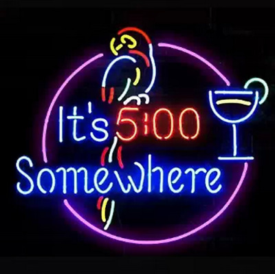 Neon Signs Gift It is 5:00 Somewhere Beer Bar Pub Store Room Wall Decor 17''x14'