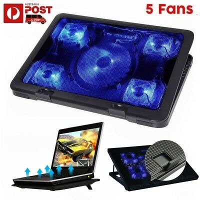 """5 Fans LED USB Adjustable Height Stand Pad Cooler For Laptop Notebook 7""""-17"""""""