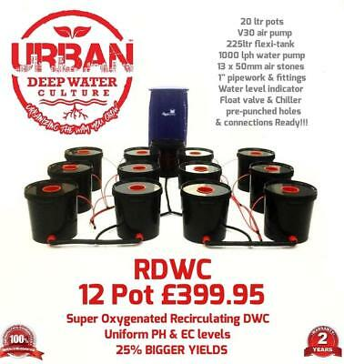 20L 12 Pot Urban Deep Water Culture 4 Lane System Flexi Tank Alien IWS RUSH DWC