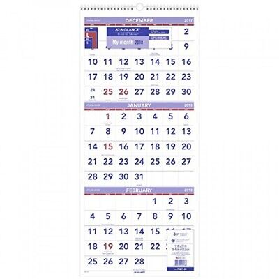 ATAGLANCE Wall Calendar, 2018, December 2017 January 2019, 3Month Display, 12""