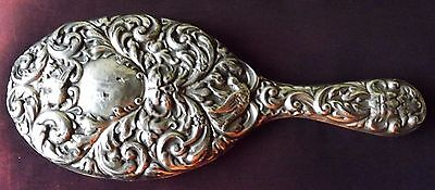 Lovely Ornate  Antique Silver Hand Mirror. Hallmarked Birmingham 1904.