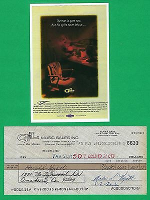 Leo Fender G&L Music Man 1987 Autographed Signed Business Check & HP Photo