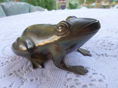 "Vintage Heavy Solid Brass Frog  Figurine/Statue - Made in India 3"" X 5"" X 3 1/2"""