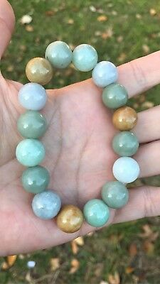 100% Natural Genuine Burmese Jadeite Jade Beaded Bracelet Genuine Grade A #778