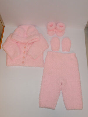 Hand Knitted Baby Jacket Hooded Cardigan Mitts Boots Trousers Pink 0-3mnth Soft