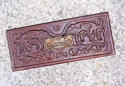 Antique Victorian Wood Carved Drawer Front Panel Face Ornate Copper Handle Pull