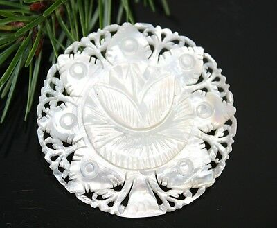 Vintage Carved MOTHER OF PEARL Round Pin Brooch ~ ESTATE Jewelry Gift For Her