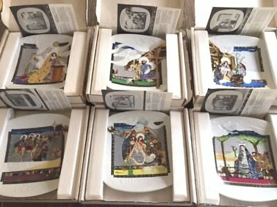 """6 Knowles """"The Story of Christmas"""" Collector Plates Eve Licea COA - Ships FREE"""