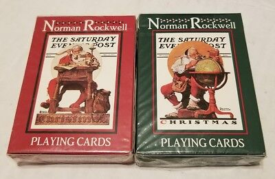Norman Rockwell Santa Christmas Stocking Stuffers Playing Cards Red Green 2 New