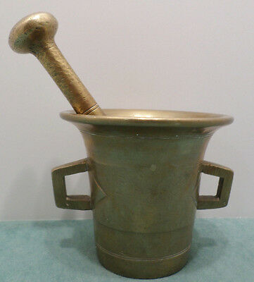 Antique Brass Mortar and Pestle Medical Pharmaceutical