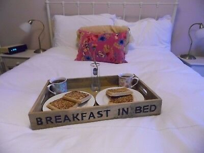 LARGE 50cm Wooden Tray, Rustic Vintage Style, Breakfast in Bed.  Unusual gift!