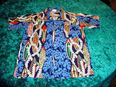 Vintage Boys US Size 10 Hawaiian Shirt Surf Boards Made in Hawaii 100% Cotton