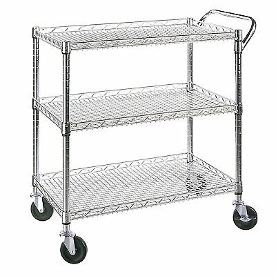 KITCHEN UTILITY CART Rolling Home All Purpose Handle Push Bar Stainless  Steel