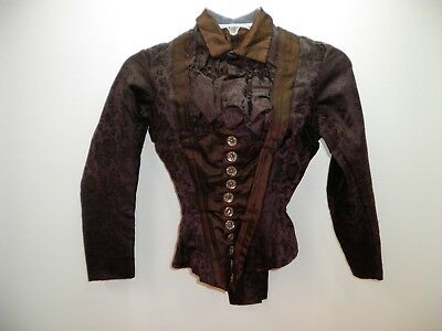 Antique Victorian Patterned Silk Shirtwaist Jacket Bodice Steampunk Dark Brown