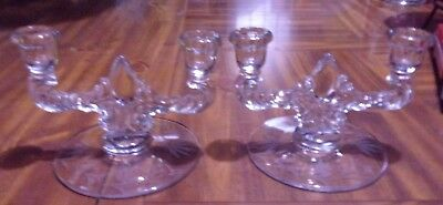Pair Of Glass Double Candelabras ~ Etched